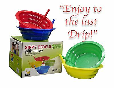 Green Direct Sippy-Bowl 22oz Plastic Bowl with Built in Straw for Kids Assorted