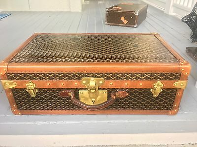 Antique GOYARD Steamer shoe Trunk 1920s Vuitton French Paris Suitcase