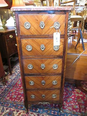 Antique French Five Drawer Cabinet Lingerie Chest w Rouge Marble Top Louis XV
