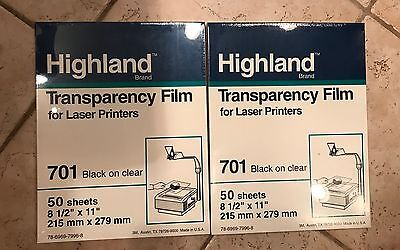 Lot 2 NEW Highland 701 Transparency 50 Sheets 8 1/2 x 11 Laser Printers