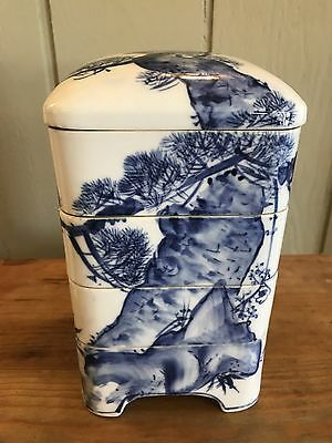Japanese Old Jubako Lunch Box Porcelain Blue White Nature