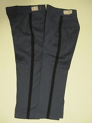 VINTAGE NOS BLUE UNIFORM STRIPE PANTS LOT OF 2 MADE IN USA 45% WOOL 25x28 SMALL