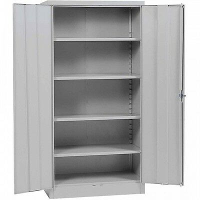 Grey Metal Storage Cabinet Steel Garage Shop Doors Lock Adjustable Shelves Tall