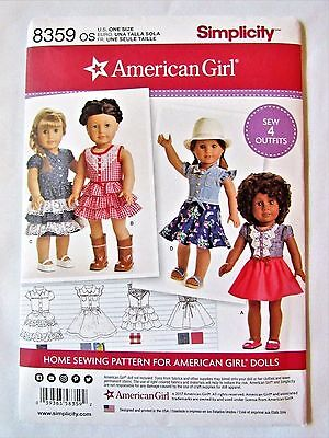 Simplicity 8359 American Girl Doll Clothes Pattern New and Uncut Free Shipping I