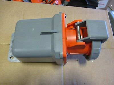 Hubbell 460R12W, w/ Plastic Backbox 60 Amp 125/250 Volt Pin&Sleeve Receptacle
