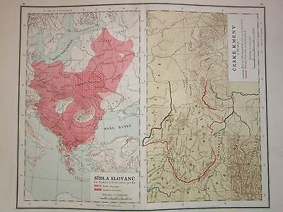 1921 Color Atlas Map Page of Slavic and Czech