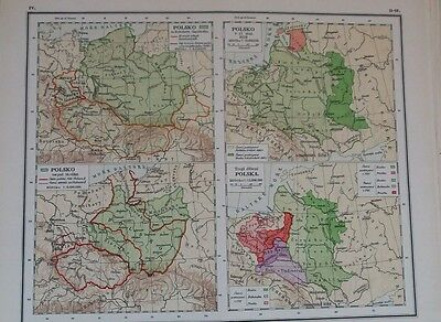 1921 Color Atlas Map Page of Poland