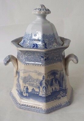 "W. Adams and Sons Ironstone Sugar Bowl With Lid Blue and White 8"" Tall x 5 1/2"""
