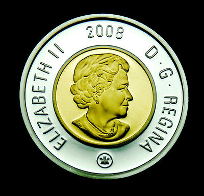 2008 $2 proof silver .925% gold-plated inner core - shows brilliantly
