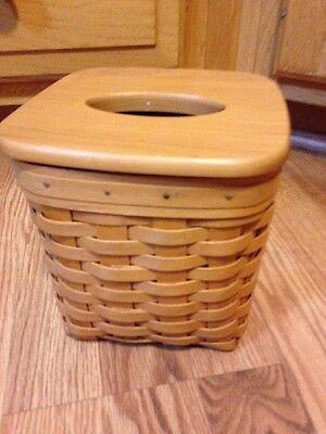 Longaberger Tissue Basket with Lid - EUC