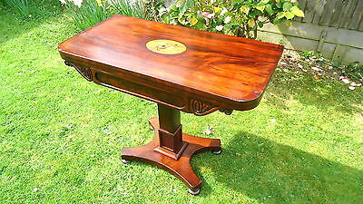 REGENCY. Card Table with Square Tapering Shaped Pedestal Mahogany. C1790 - 1830.