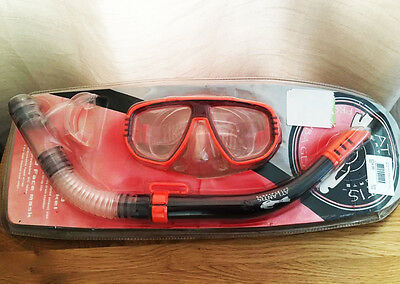 Atlantis Watersports Mask & Snorkel Black Orange Snorkeling Kit Set Senior Adult
