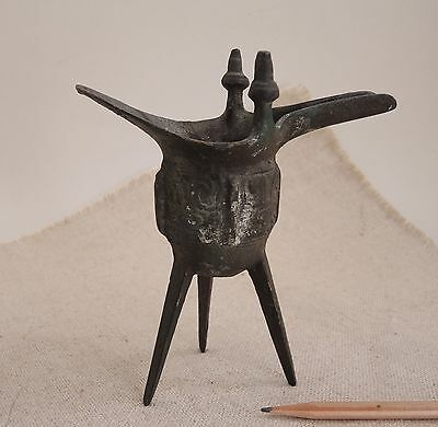 Chinese Bronze Ceremonial Wine Cup Tripod Warming Vessel Jue Archaic Ritual Old