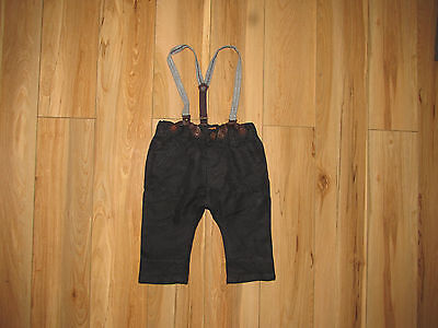 Zara Baby, blackTrousers with braces size 3-6 months.