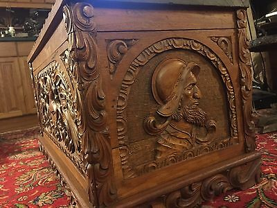 Vintage Spanish Colonial Trunk Art Nouveau Chest Carved Mid Century Casa Loreto