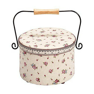 Ornate Delicate Country Rose Print Tape Measure and Trim Sewing Basket