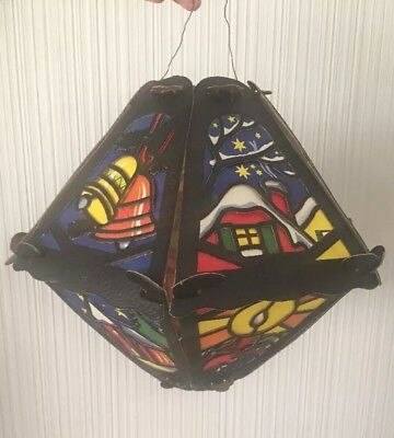 Antique German Christmas Die-Cut Cardboard Collapsible Candle Lantern Ornament