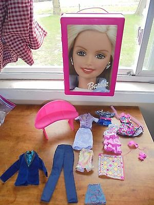 Pink Barbie Doll Storage Case Sofa Clothes Lot Collectible Toys