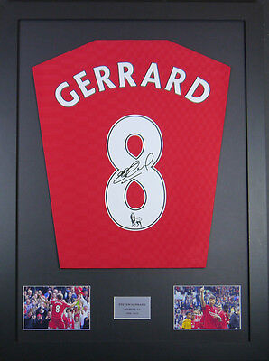 Steven Gerrard Liverpool Signed Shirt framed display with coa