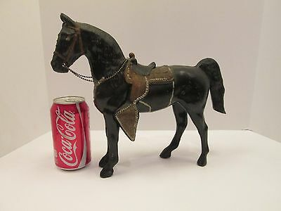 "Vintage BLACK HORSE Gold Saddle 10"" Cast Aluminum Pot Metalware Western Cowboy"