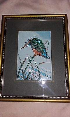 """Cash's Woven Framed Silk Picture """"kingfisher"""""""