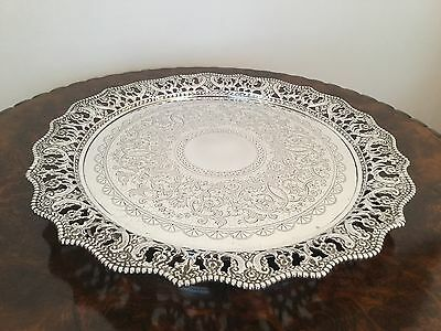 Good Solid Silver Tray Salver Waiter Sheffield 1906 Martin Hall & Co