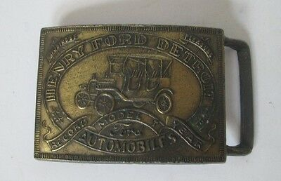 Vintage HENRY FORD DETROIT Model T Automobiles Record Year Metal BELT BUCKLE