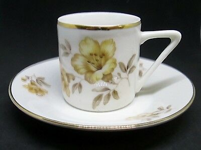 Bareuther Espresso / Demitasse Cup & Saucer, Yellow Flowers Gold Trim Post WWII