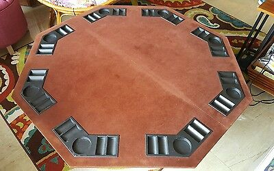 Vintage 8 Player Velvet Top Poker Gaming Playing Table 48 x 48