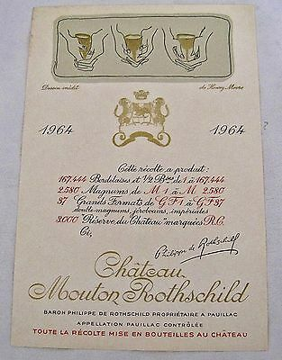 Vintage Wine Label 1964 Chateau Mouton Rothschild Henry Moore