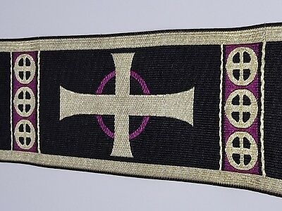 "Orphrey Vintage Cross Design Banding Gold Purple on Black for Vestment 3"" Wide"