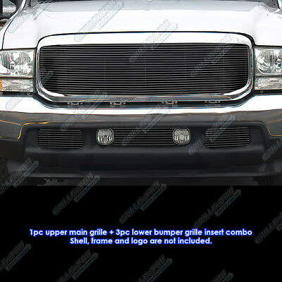 Fits 99-04 Ford F-250/F-350/Excursion Black Billet Grille Grill Combo Insert