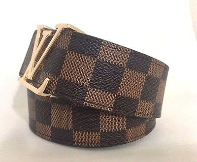 Brown Tan Checkered Gold Buckle Unisex men women's classic Leather Belt 34- 44""