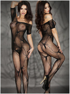 7072 BLACK BODYSUIT Babydoll Set Lingerie Underwear mini Dress BODYSTOCKING