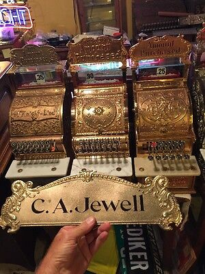 Antique Brass Bronze National cash register TOP SIGN C A Jewell NCR Candy