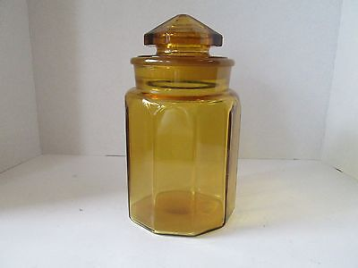 1x Vintage Retro LE SMITH  Glass 3 lb  AMBER GOLD APOTHECARY CANISTER Lidded