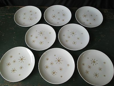 "8 STAR GLOW Royal China 10"" Dinner Plates Mid Century Modern Set Gold Snowflake"