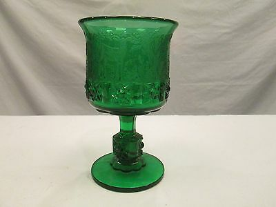 1x GREEN Black Forest LG Wright Fenton Etched Daisy & Cube Moose Glass Goblet