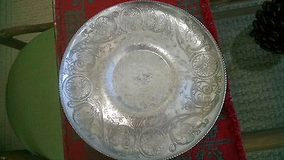 "Beautiful Vintage Hand Wrought 11 1/4"" Round Tray- Paisley Pattern-many uses!"