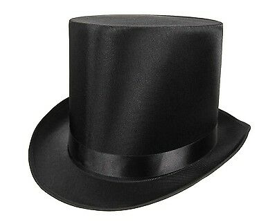 Tall QUALITY SATIN Top Hat Slash Victorian Steampunk Dickens Costume Black *SALE