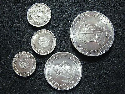 South Africa Set of 5 Silver Coin Issues, BU 1955-1964, 35c & 3 pence,all choice
