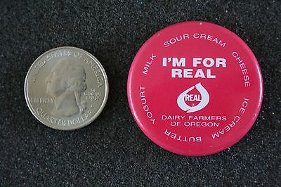 I'm For Real Milk Dairy Farmers Of Oregon Vintage Pin Pinback Button #22553