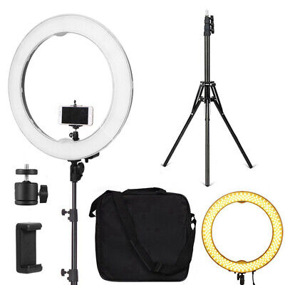 """Dimmable Diva LED Ring Light 18"""" 5500K With Diffuser Light Stand For Video Photo"""