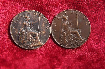 UK Great Britain Farthing 1917 1918 Old England Coin Lot Old Coin H