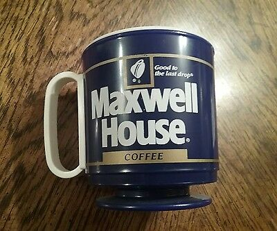 Vintage MAXWELL HOUSE Coffee Reusable Plastic Travel Mug Cup with Lid
