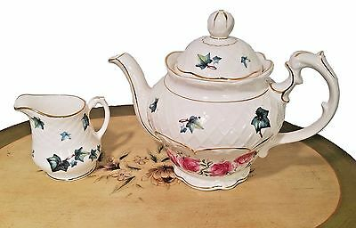Crown Dorset Teapot With Roses & Ivy Staffordshire England Includes Creamer