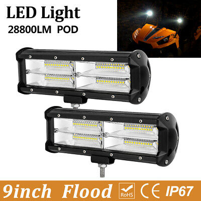 2x Quad Row 4inch 144W LED Light Bars Spot Beam ATV UTV 4WD Jeep Pods Driving 5""