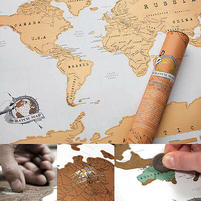 Scratch Off World Map Poster Personalized Travel Vacation Personal Log Gift 2017