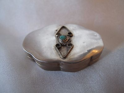 Small Sterling Silver Snuff/pill  Box With Turquoise Cabachon Stone