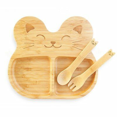 La Boos Cat Children Baby Infant Feeding Kids Dish Set Plate Spoon and Fork And